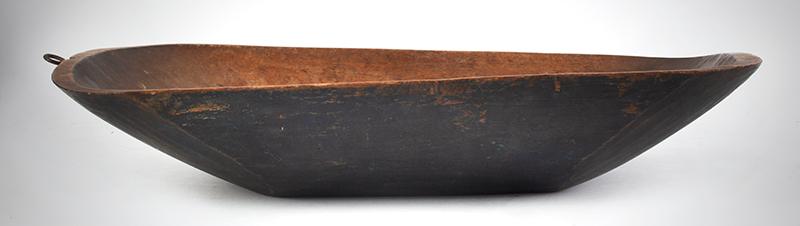 Antique Trencher, Carved Bowl, Original Blue Paint, Potato Chip Rim, Birch New England, circa 1780-1840, entire view 1