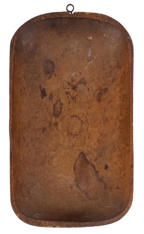Antique Trencher, Carved Bowl, Original Blue Paint, Potato Chip Rim, Birch New England, circa 1780-1840, entire view 3