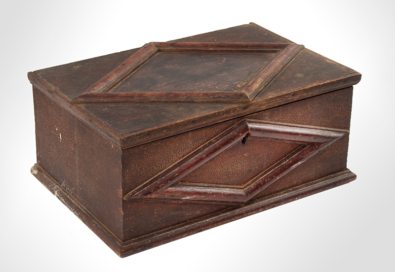 Ditty Box, A.K.A., Document, bureau or Trinket Box, Applied Moldings, Original Surface New England, circa 1820s, angle view