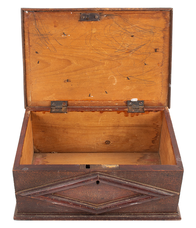 Ditty Box, A.K.A., Document, bureau or Trinket Box, Applied Moldings, Original Surface New England, circa 1820s, open view