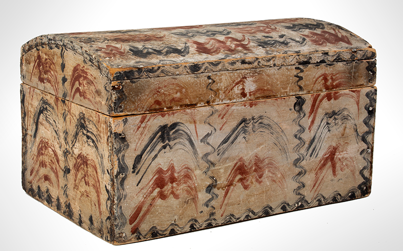 Antique Paint Decorated Dome Top Document Box, Fine and Unusual  New England, likely Maine, circa 1820-1830, entire view 2