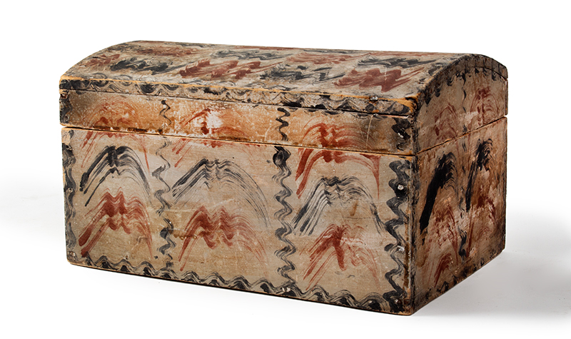 Antique Paint Decorated Dome Top Document Box, Fine and Unusual  New England, likely Maine, circa 1820-1830, entire view 3