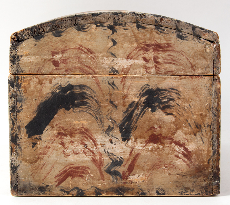 Antique Paint Decorated Dome Top Document Box, Fine and Unusual  New England, likely Maine, circa 1820-1830, entire view 4