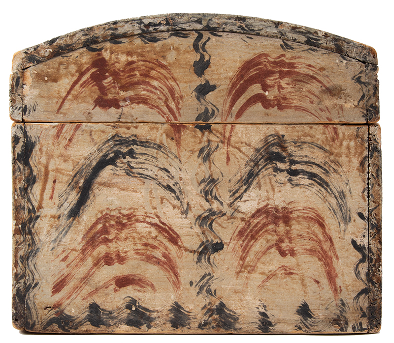 Antique Paint Decorated Dome Top Document Box, Fine and Unusual  New England, likely Maine, circa 1820-1830, entire view 6