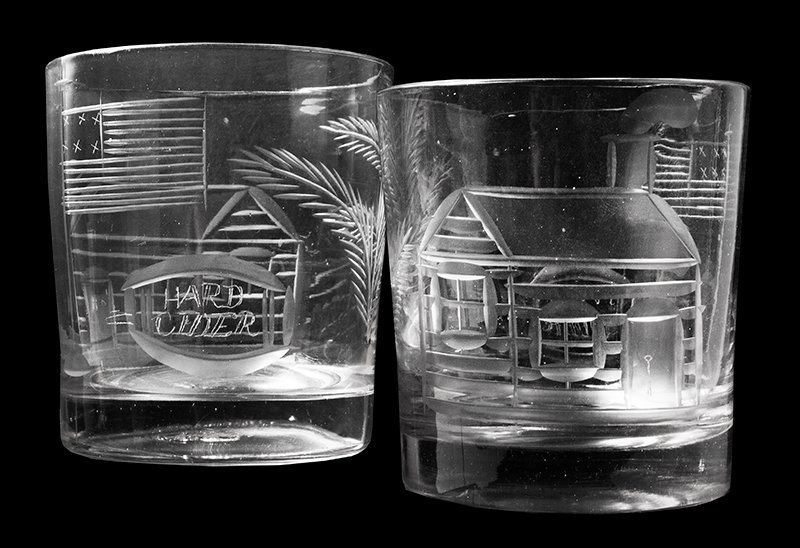 William Henry Harrison, Log Cabin & Hard Cider Cut Glass Tumblers 1840 Presidential Campaign, entire view