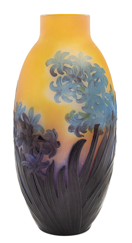 Galle Mold Blown Signed Hyacinth Vase, Rare and Exquisite, Circa 1925, entire view 1