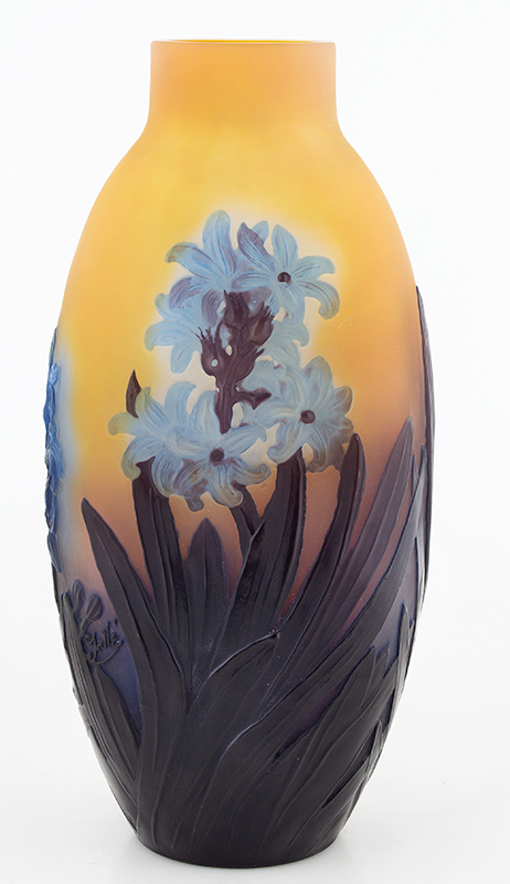 Galle Mold Blown Signed Hyacinth Vase, Rare and Exquisite, Circa 1925, entire view 2