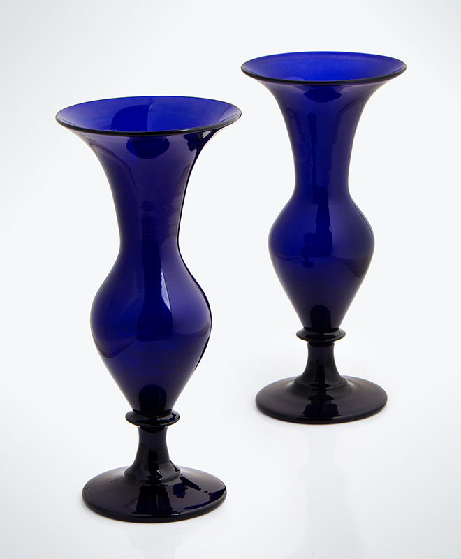 Pair, Free Blown Ovoid Form Trumpet Vases, Cobalt, Circa 1840 Unknown Maker, America, or England, circa 1840, entire view 1