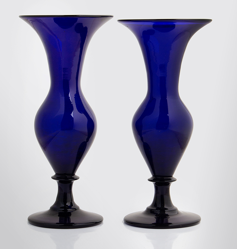 Pair, Free Blown Ovoid Form Trumpet Vases, Cobalt, Circa 1840 Unknown Maker, America, or England, circa 1840, entire view 2