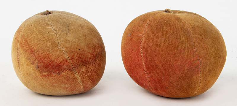 Antique Velvet Fruit, Water-colored Apple Pincushions, Handsewn    19th Century, entire view 1