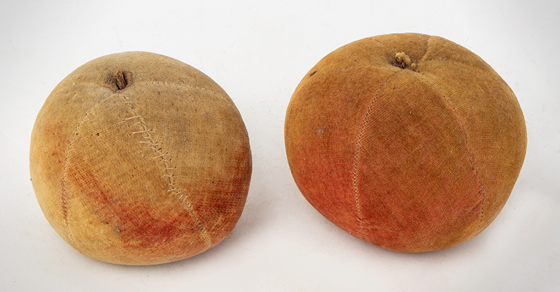 Antique Velvet Fruit, Water-colored Apple Pincushions, Handsewn    19th Century, entire view 2