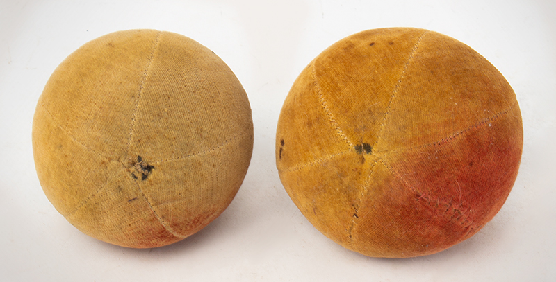 Antique Velvet Fruit, Water-colored Apple Pincushions, Handsewn    19th Century, entire view 4