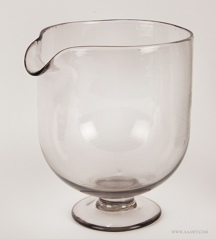 Large Blown Clear Glass WILMONT Jar with Spout, Circular Foot, Rough Pontil Circa 1891-1918, entire view