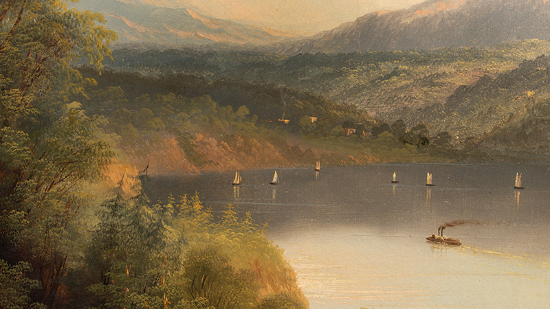 Antique Hudson River Valley School Painting, The Kosciusko Monument at West Point Attributed to Edmund C. Coates (1816-1871), detail view 1