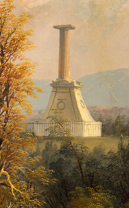 Antique Hudson River Valley School Painting, The Kosciusko Monument at West Point Attributed to Edmund C. Coates (1816-1871), detail view 2