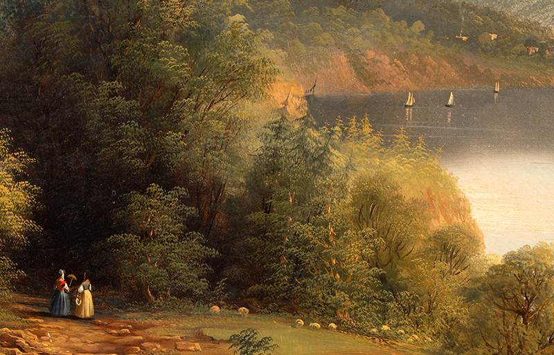 Antique Hudson River Valley School Painting, The Kosciusko Monument at West Point Attributed to Edmund C. Coates (1816-1871), detail view 3