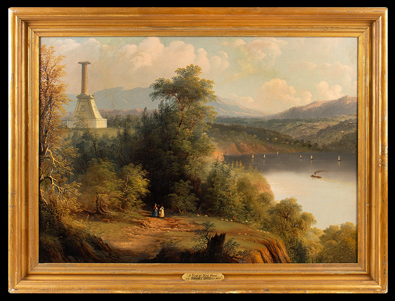 Antique Hudson River Valley School Painting, The Kosciusko Monument at West Point Attributed to Edmund C. Coates (1816-1871), entire view
