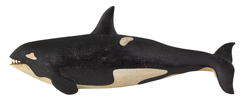 Clark Voorhees, Orca Whale Plaque, Carved and Painted Clark G. Voorhees (1911-1980), Probably 1950's Old Lyme, Connecticut and Weston, Vermont An outstanding silhouette typical of Clark Voorhees distinguished tradition, entire view
