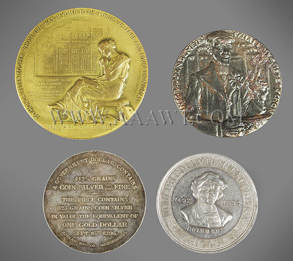 Medals, Bronze, Silver, Coins, Late 19th and Early 20th Century, entire view