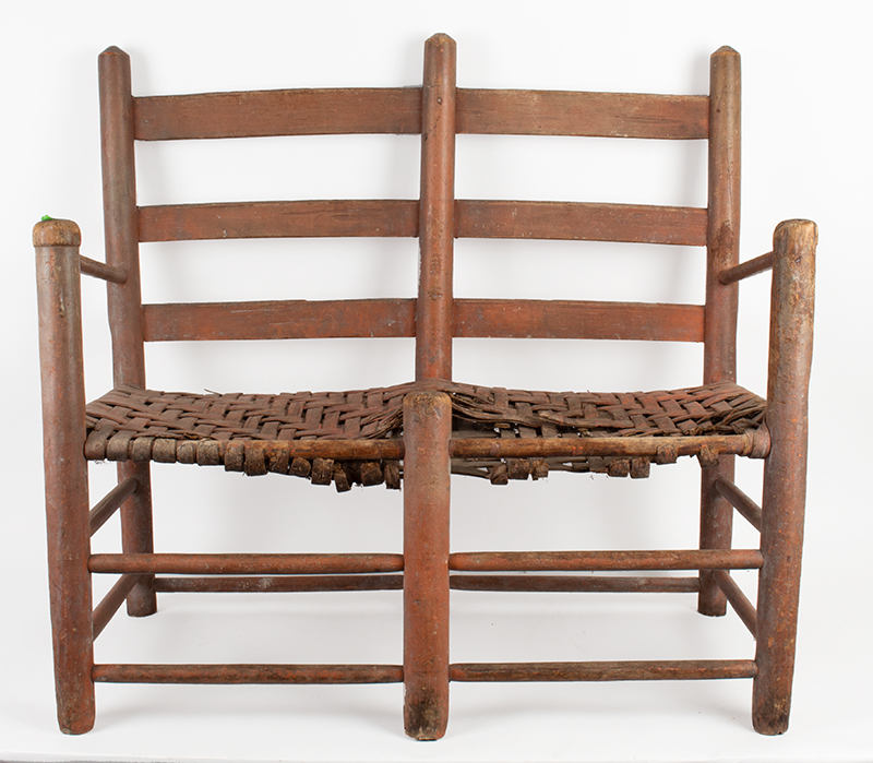 Wagon Seat, Ladderback Armchair, Capped Front Posts, Original Salmon-Red Paint New England, circa 1800, entire view