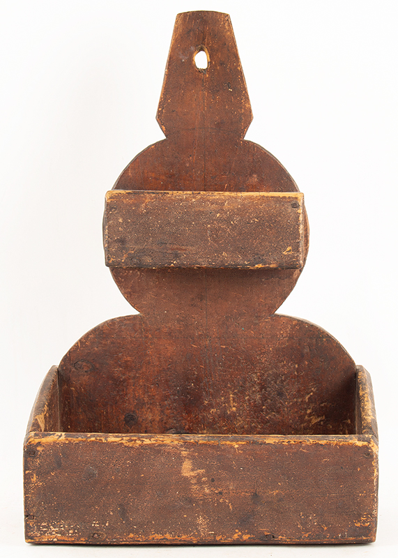 Antique Wall Box in Original Dry Red Painted Surface, Two-Tier  New England, 19th Century Graduated lap-joined boxes against an unusual backboard profile, entire view 1