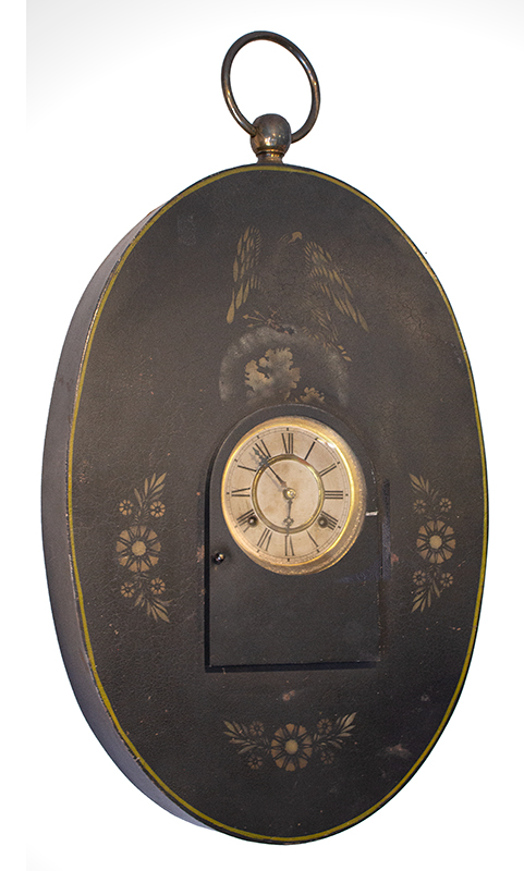19th Century Wall Clock, Trade Sign, Oval, Stenciled Eagle & Floral Motif  Waterbury, Connecticut, circa 1854-1880, entire view
