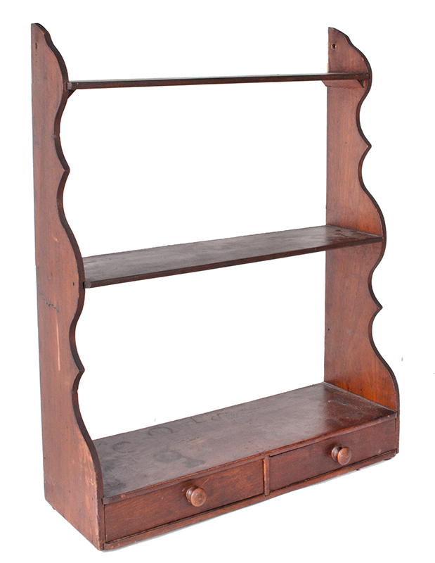 Antique Wall Shelf, Tapering Scalloped Sides & Graduated Shelves     Likely New England, 19th Century Compact and attractive; the sides pierced for hanging, original surface, angle view