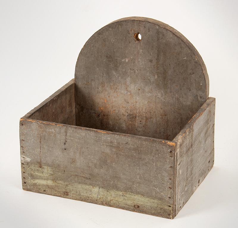 Wall Box, Original Paint, Soft Powder-Gray Greenish, Square Nailed, Lap Joinery