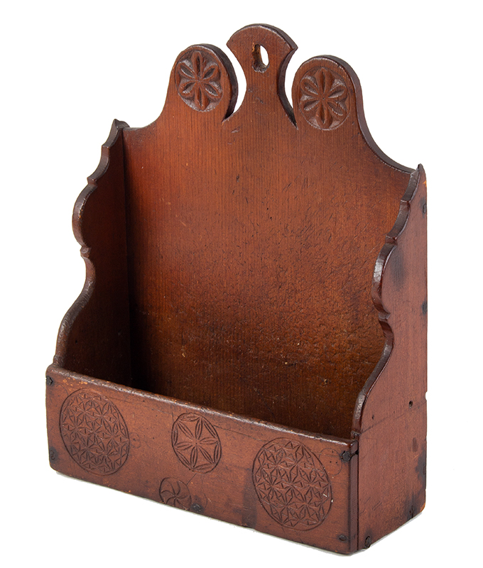 Carved and Painted Hanging Wall Box, Antique Candle Box  New England, Probably Connecticut, Mid/Late 18th Century Eastern white pine, entire view 1