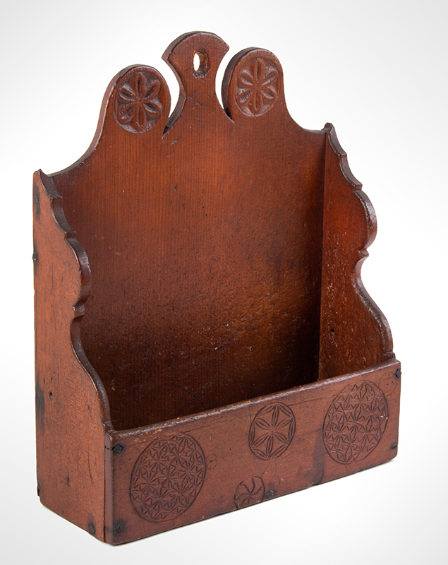 Carved and Painted Hanging Wall Box, Antique Candle Box  New England, Probably Connecticut, Mid/Late 18th Century Eastern white pine, entire view 2