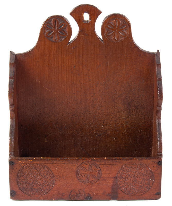 Carved and Painted Hanging Wall Box, Antique Candle Box  New England, Probably Connecticut, Mid/Late 18th Century Eastern white pine, entire view 3