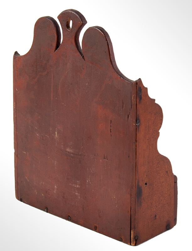 Carved and Painted Hanging Wall Box, Antique Candle Box  New England, Probably Connecticut, Mid/Late 18th Century Eastern white pine, entire view 4
