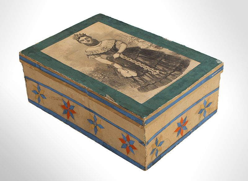 Trinket Box, Paper-Covered Paperboard Box, Applied Compass Stars & Prints    Vermont, 1857