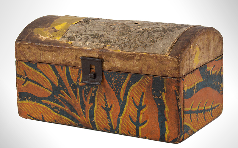 Small Wallpapered Antique Dome Top Trunk Probably Pennsylvania, 19th Century, entire view