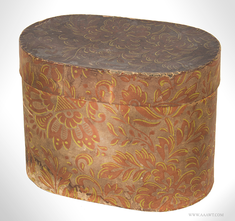Wallpaper Box, Tall Oval Bandbox Covered in Faded Salmon and Yellow Paper