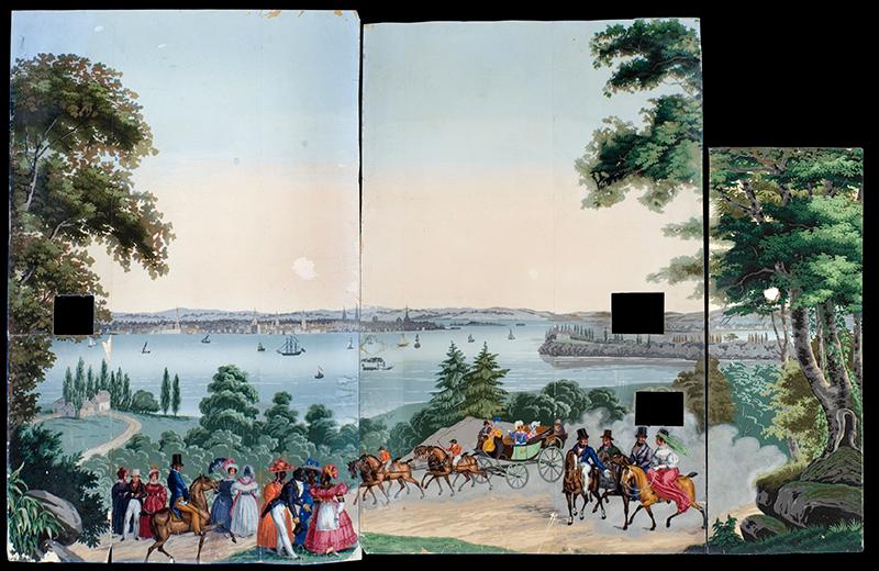 Wallpaper Panels from Vues d'Amerique du Nord Jean Zuber & Cie. Designed by Jean-Julien Deltil (1791 – 1863) Alsace, Rixheim, France Circa 1834, entire view