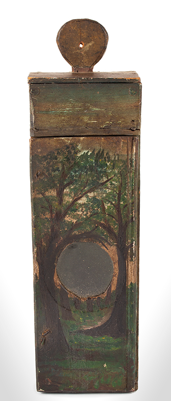 Antique Watch Hutch, Paint Decorated, New England, Circa 1780-1830ish Folk art and utility combined…, entire view 1