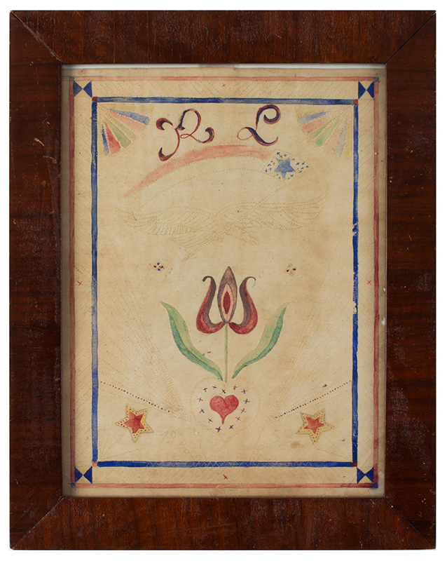 Love Token, Watercolor & Pinprick, Eagle & American Pennant Possibly Pennsylvania, RL – 1853, entire view