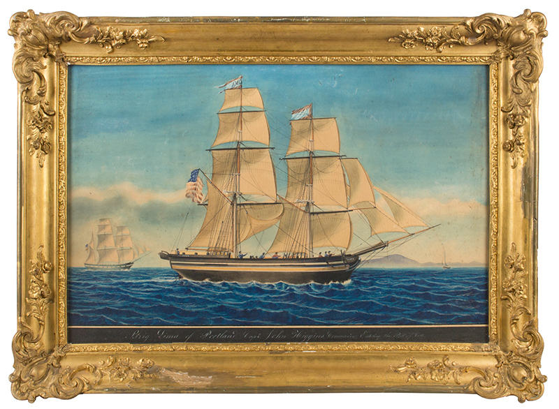 Marine Painting, The Brig Lima of Portland, Entering the Port of Cette, 1849, Captain John Higgins, Commander, entire view