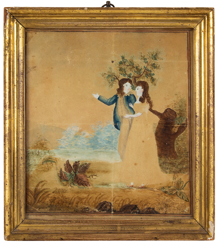 Watercolor Token of Friendship, Young Couple Presented to Abigail North By Mary Ann Skinner Circa 1810 Watercolor on paper, inscribed on backboard, entire view