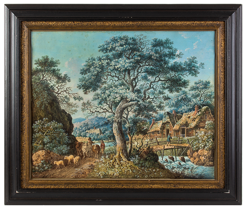 18th Century Dutch Watercolor, Travelers, Herdsman Anonymous Watercolor on paper, brilliant color, entire view