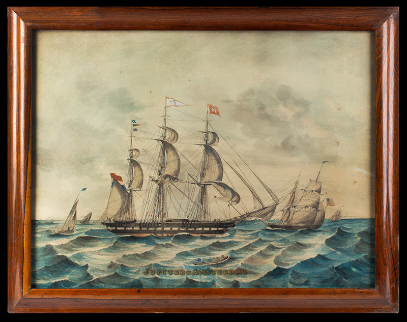 Maritime Painting, Dutch Merchantman & American Trading Vessel Jupiter * Amsterdam Getekend door [drawn by, Dutch] J. Jordan, entire view