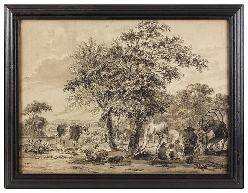 18th Century Watercolor, English Farm England, Late 18th Century, entire view