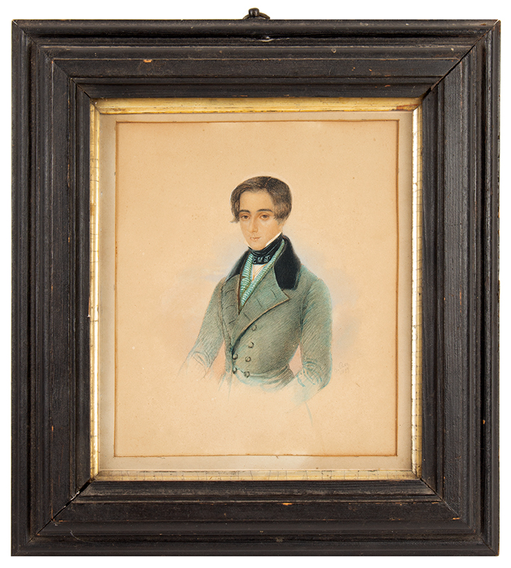 Portrait, Watercolor, Handsome Gentleman in Dapper Clothing, English School Signed, A. Rom or Ron, 1839