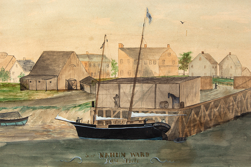 19th Century Watercolor, Low Tide Wharf Scene, Ship & Buildings Signed: Nahum Ward (1785-1860) Watercolor on paper, entire view sans frame