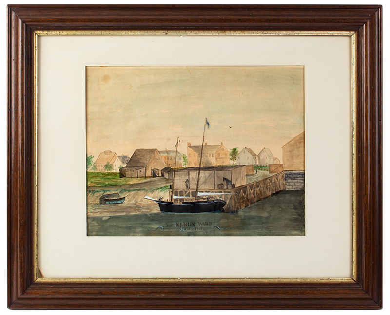 19th Century Watercolor, Low Tide Wharf Scene, Ship & Buildings Signed: Nahum Ward (1785-1860) Watercolor on paper, entire view