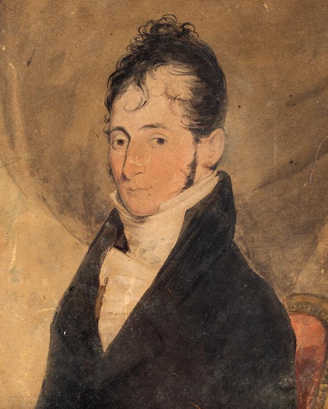 Folk Portrait, Seated Gentleman American School, circa 1820, entire view sans frame