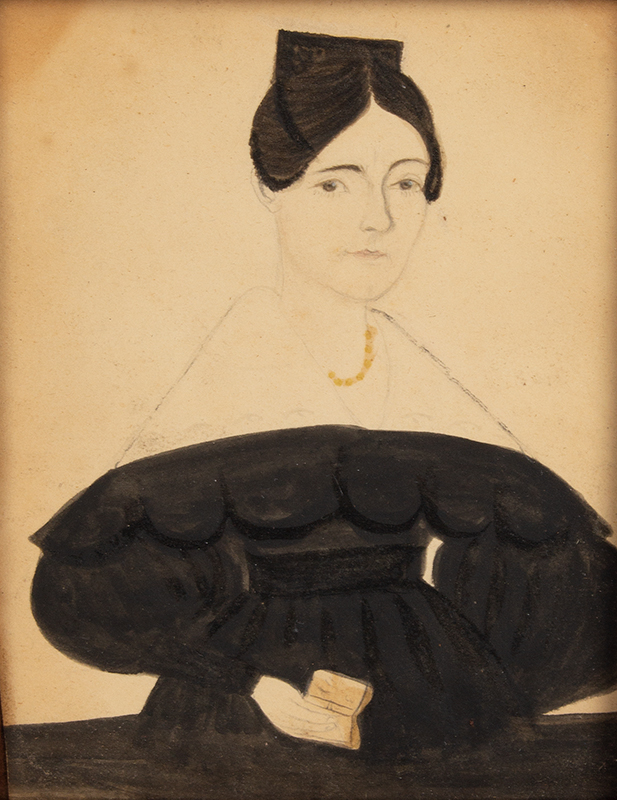 J.A. Davis, Watercolor Portrait of a Lady Holding Book New England, 1830s, entire view sans frame