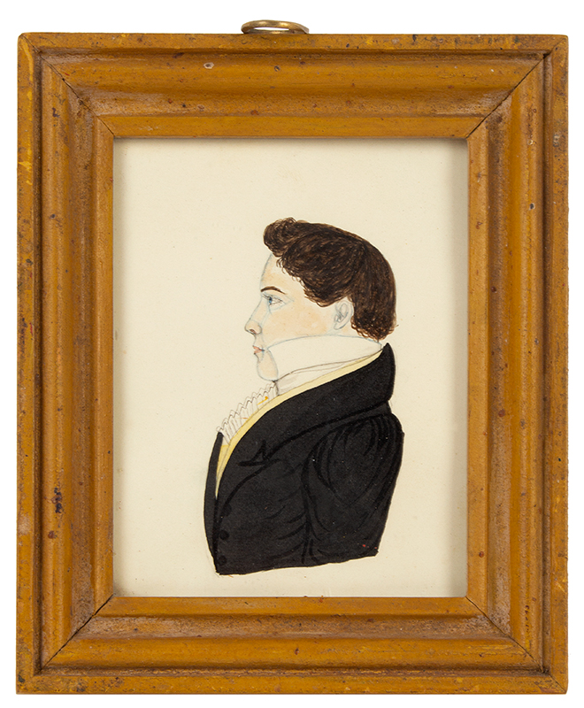 Folk Art Portrait, Watercolor, Profile,   Best Mustard Yellow Painted Frame  New England, circa 1820-1830, entire view