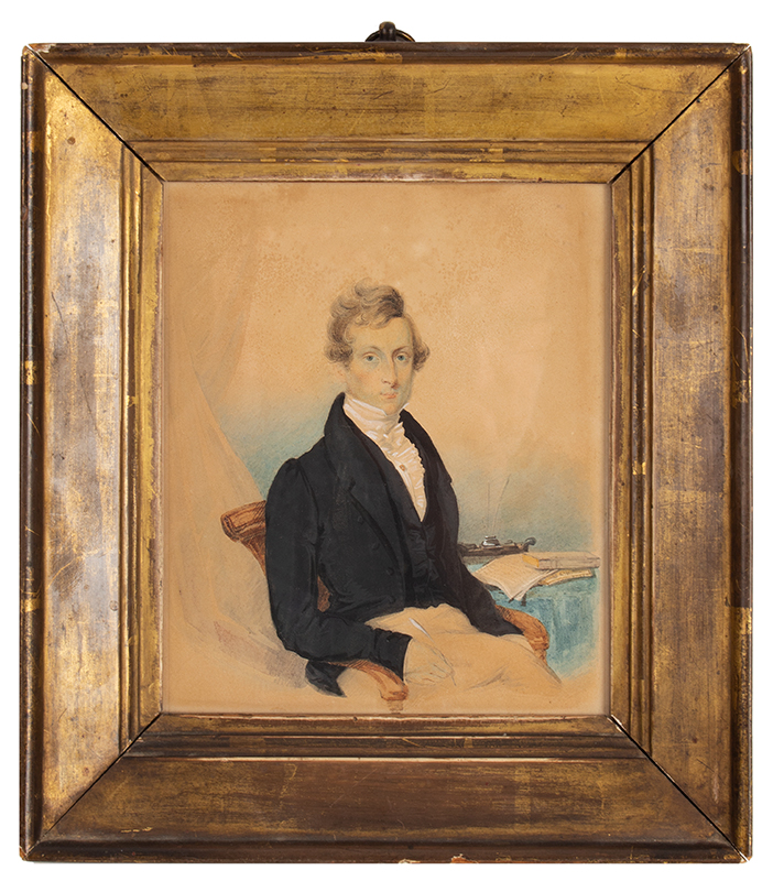 19th Century Portrait, Watercolor, Seated Learned Gentleman, Gilt Frame